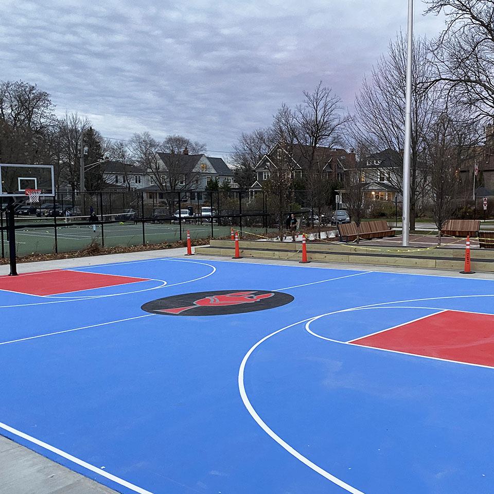 Basketball court outdoors
